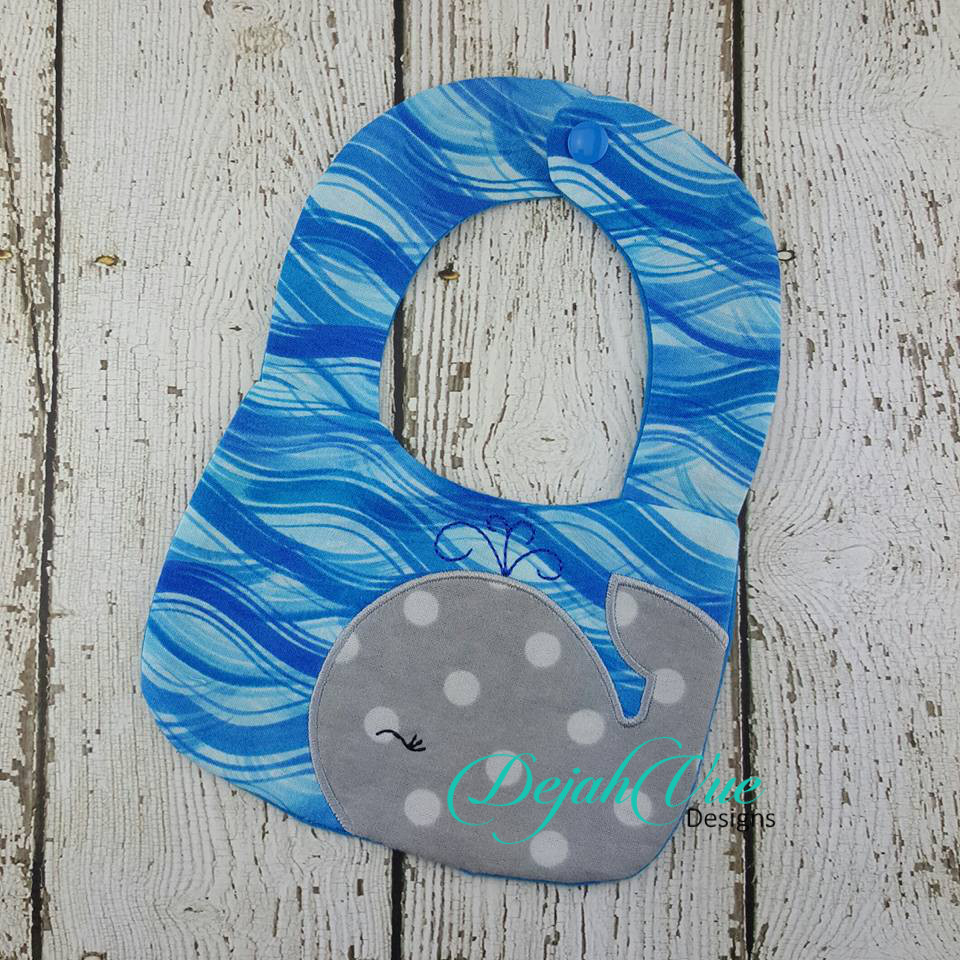 Winking Whale Two Pieced Bib For Small Hoops